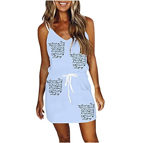 neiabodos Vestito Donna Estivo Elegante Cotone Lino Abito a Fascia con Tasche Mini Dress Casual con Scollo a V Serie Giovanile Gonna da Spiaggia con Coulisse