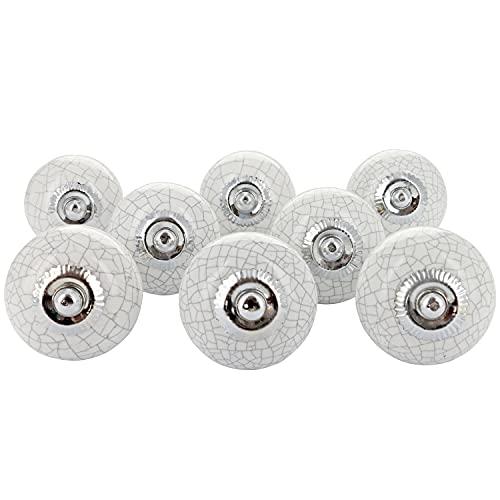 G Decor - Pomelli in ceramica, stile vintage shabby chic, per mobili e credenze, bianchi effetto cracklé, set da 8