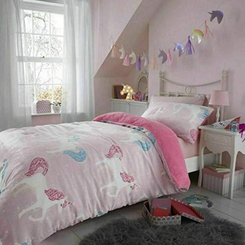SELECT-ED Luxuries New Kids Thermal Teddy Bear Duvet Cover Children Bedding Set Fleece Reversible Quilt (Teddy Unicorn, Single)