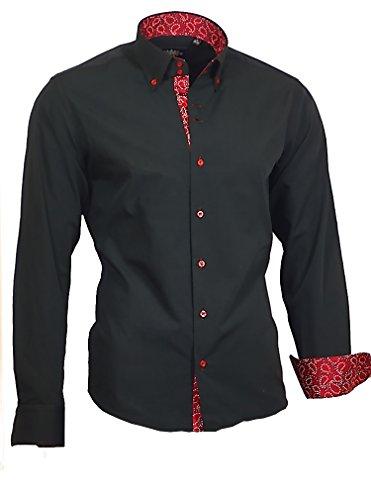 Binder de Luxe Herren Hemd Shirt modern fit mit Kontraststoff Button-Down-Kragen Langarm 760 schwarz rot XXL 46