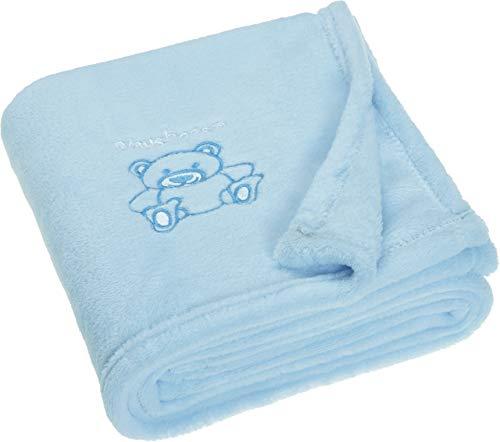 Playshoes Baby und Kinder Fleece-Decke, vielseitig nutzbare Kuscheldecke für Jungen und Mädchen,  mit Bär-Stickung, Blau, 75 x 100 cm