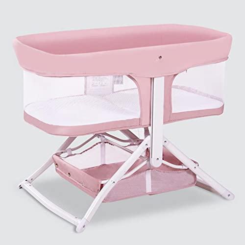 zcyg Culla Lettino da Viaggio Lettino da Letto Portatile Mobile, Comfort Pieghevole Comfort Moderno Semplice Letto Neonato(Color:Rosa)