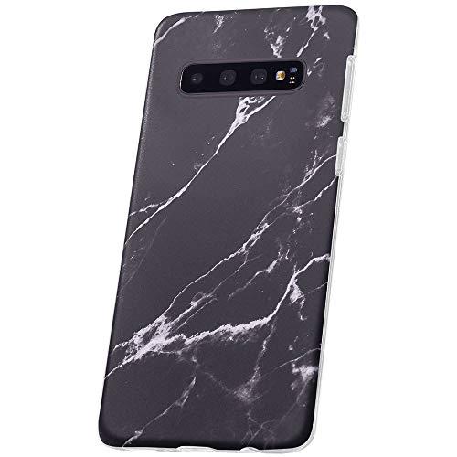 QULT Carcasa para Móvil Compatible con Samsung Galaxy S21 Plus Funda marmol Gris con Borde Transparente Silicona Flexible Bumper Teléfono Caso para Samsung Galaxy S21 Plus Marble Black