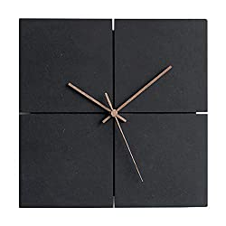 guijinpeng Wall Clocks 12 inch Square Silent Wooden Modern Design Wall Clock European Brief Wood Wall Watch Creative Artistic Home Decoration Clocks