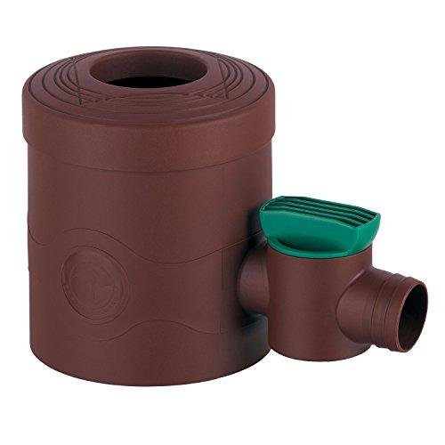 Regenwasserfilter Regensammler mit Absperrhahn braun für Fallrohre Ø 68 - 100 mm und Viereckfallrohre mit 60 x 60 mm zum Befüllen von Regentonnen, Regenfässer und Regenwassertonnen