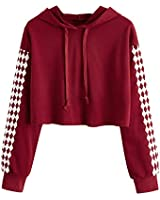 MakeMeChic Women's Graphic Print Sweatshirt Workout Drawstring Crop Top Hoodies Burgundy-Diamond S
