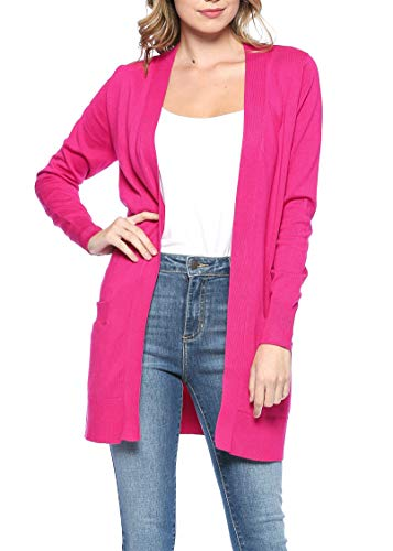Womens Light Weight Open Front Long Cardigan with Pockets (Medium, Hot Pink)