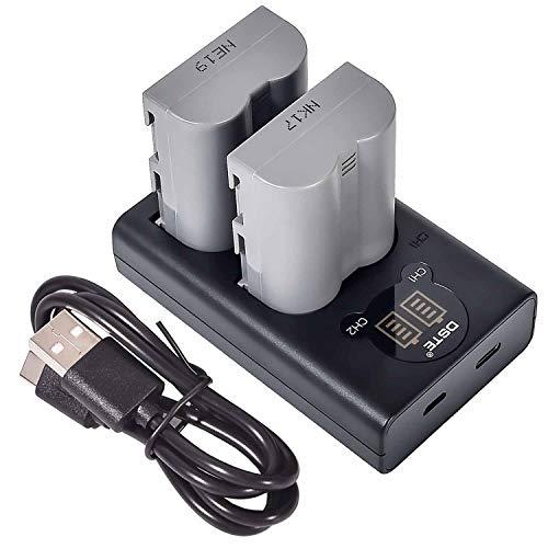 DSTE 2-Stücke Batterie Akku und 2-Kanäle Dual USB Quick Ladegerät Kit für Nikon EN-EL3E D30 D50 D70 D70S D80 D90 D100 D200 D300 D300S D700