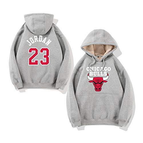 Chicago Bulls 23# Baloncesto Sudadera con Capucha, Sudadera con Capucha de Baloncesto Sudadera de Hip Hop, Hombres y Mujeres Camiseta de Manga Larga Grey-M