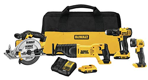 multi purpose power tool set DEWALT 20V MAX Combo Kit, 4 Tools Compact Tool (DCK423D2)