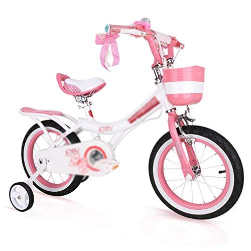 Kids Bikes Chunlan Chica Princesa En Bicicleta para Niños 2-13 Años con Ruedas De Ntrenamiento Altura Ajustable Rosado Regalo De Cumpleaños 12/14/16/18 Pulgadas(Size:16inch)