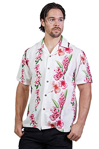 Favant Tropical Luau Beach Floral Panel Print Men's Hawaiian Aloha Shirt (Medium, White)