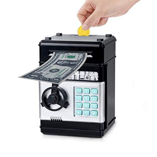 Wenosda Sparschwein Sparbüchse Elektronischer Geldautomat Auto-Scroll Cash Coin Sparschwein Passwort Safe Safeboxen, für Jungen Mädchen Kinder Geburtstag, Kindertag, (Schwarz)