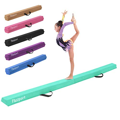 FBSPORT 8ft Green Balance Beam Folding Floor Gymnastics Equipment for Kids Adults,Non Slip Rubber Base, Gymnastics Beam for Training, Practice, Physical Therapy and Professional Home Training