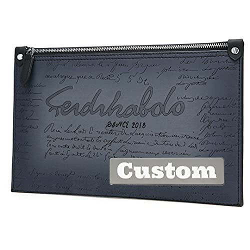 Nombre Personalizado Personalizado RFID Vegan Clutch Wallet Pequeño Bolso Delgado Hombres Tarjeta de crédito Cartera Carbon (Color : Azul, tamaño : One Size)