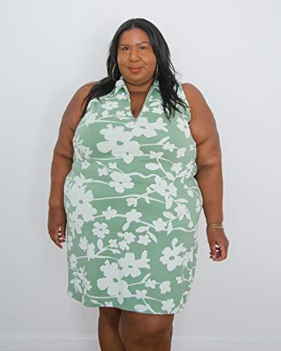 The Drop Robe pour Femme, Fermeture Éclair sur le Devant, Vert Fumé avec Imprimé Floral Blanc, par @itsmekellieb
