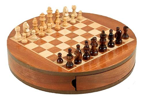 TEMPELWELT Gesellschaftsspiel Brettspiel Schach Schachspiel 30 cm rund, Holz Natur braun, Denkspiel Strategiespiel Holzspiel, Geschenk Reisespiel magnetisch