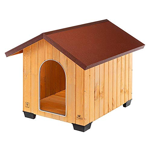 Ferplast Niche pour chiens pour l'extérieur DOMUS EXTRA LARGE en bois FSC, Pieds isolants en plastique, Grille pour l'aération, Porte anti-morsures en aluminium