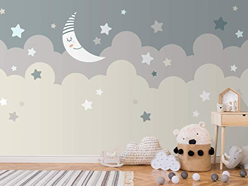 Oedim Papel Pintado Infantil para Pared Nubes y Luna | Mural | Papel Pintado Infantil |350 x 250 cm | Decoración comedores, Salones, Habitaciones
