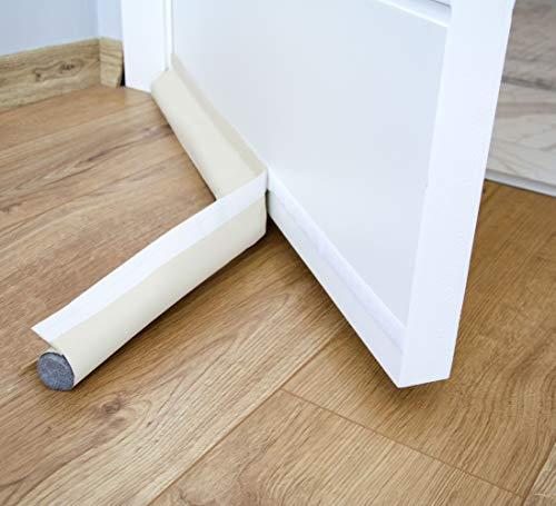 Zugluftstopper, 90 cm, einseitig mit selbstklebender Dichtung, Schutz gegen Luftströme und Lärm, Weather Stripping Door Seal Strip (Beige)
