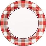 Unique Party - Platos de Papel - 18 cm - Diseño de Verano de Guinga Roja - Paquete de 8 (58714)