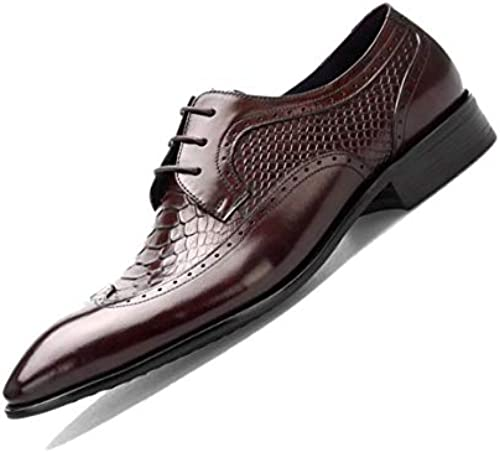 LZMEG Bullock Pointed Derby Herren Geschnitzte Business Kleid Schuhe Handgefertigt Braun SchwarzUniform Schuhe Erwachsene