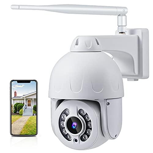 Camaras De Vigilancia WiFi Exterior 5MP, Camara Vigilancia De Visión Nocturna En Color 1920P / 355 °, Cámara Impermeable IP 65, Audio De Dos Canales, Detección Automática De Seguimiento Humano