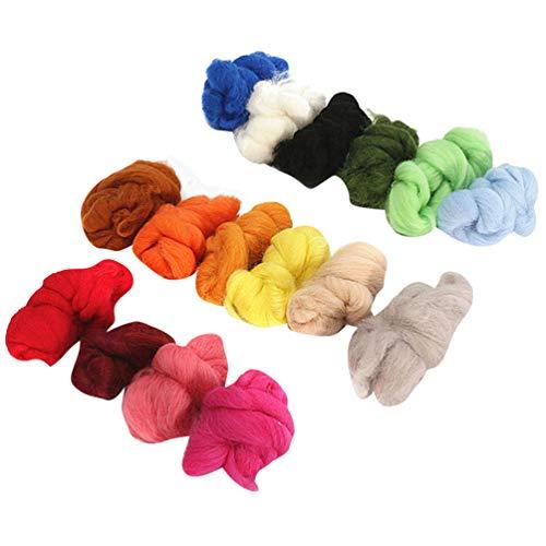 EXCEART 毛糸 編み糸 ウールローブ 手紡ぎ フリース ソフト 耐久性 DIY 工芸品 材料 混合 36色 植毛ボール ウールフェルトボール セット