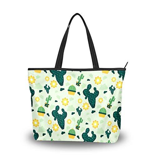 Bolsa de la compra con cremallera, diseño de cactus amarillo, para mujer, grande, reutilizable, con asa superior, para la escuela, trabajo, gimnasio, playa, viajes al aire libre