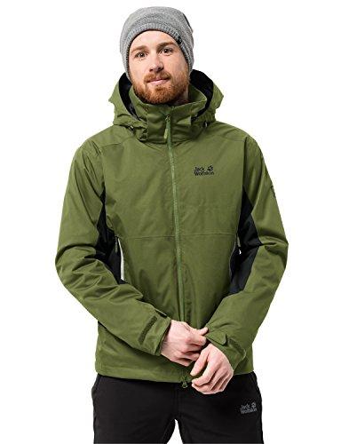 Jack Wolfskin North Border - Chaqueta 3 en 1 para hombre, impermeable, cortavientos, transpirable, chaqueta 3 en 1, Hombre, 1107804-4521002, verde cypress, small