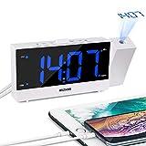 MIZHMI Loud Réveil Projector Réveil Digital Réveil12H/24HProjection Clock Réveil de Projection LED numérique avec minuteur de répétition Double USB pour Chambre à Coucher Enfant