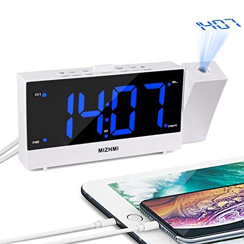 Digitale wekker, radiowekker, projectiewekker met projectie, LED digitale wekker 12h/24h reiswekker projectieklok Snooze Timer Dual USB kinderwekker bed niet tikken projector plafond luide wekker 1.8inch B + blauw