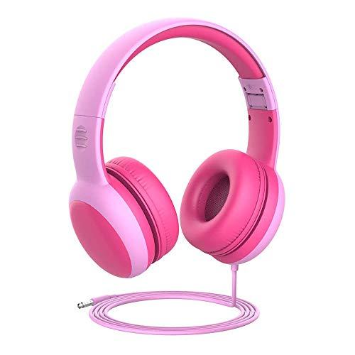 FEYA Auriculares para niños, 3,5 mm, con cable, con control de volumen, auriculares para niños con orejas decorativas, auriculares para niños y niñas, auriculares con cable para niños, niñas (rosa)