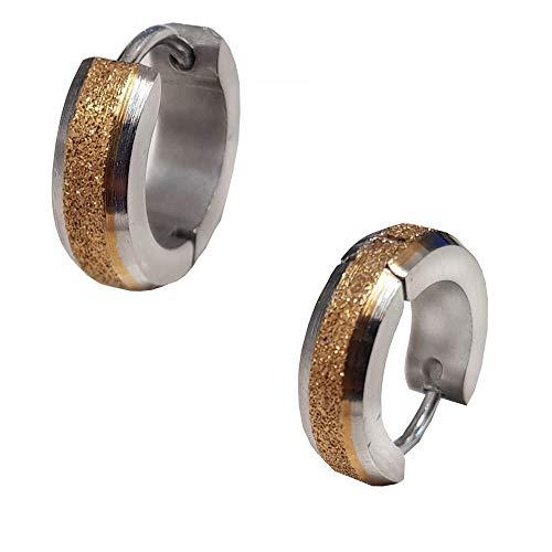 Styleziel 2359 Creool-oorbel voor dames en heren, roestvrij staal, zilver, gediamanteerd goud