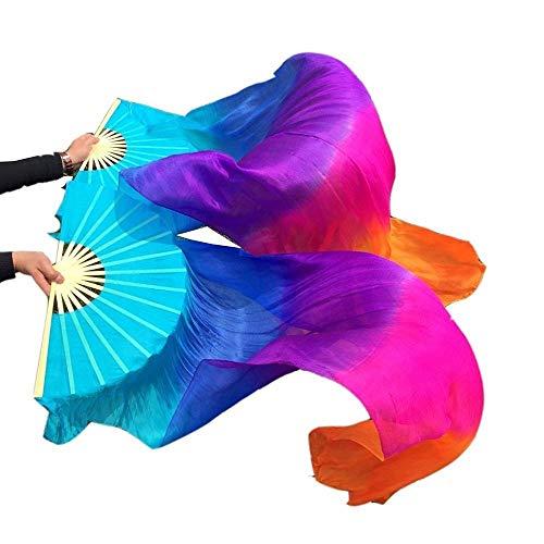 シルクファンベール 2本セット シルク100% ベリーダンス ファンベール シルクファンベール ベール シルク 衣装 扇子 団扇 舞台 小道具 アクセサリー 扇子 団扇 180 * 90 cm (5色)