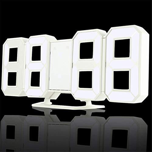 Elegante reloj de la pared moderna, reloj de la cocina de la cocina de la oficina 3D LED de la oficina 3D relojes de alarma digital 24/12 horas Pantalla 3 Niveles de brillo Noche Dimmable Nightlight F
