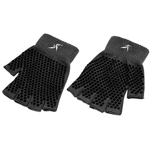 ProsourceFit Grippy Yoga Gloves, One Size Fits All, Non-Slip Fingerless Design in Black