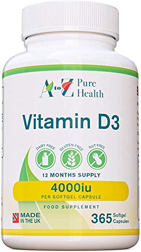 Vitamin D Supplement |High Strength Vitamin D3 4000iu | 365 Easy to Swallow Softgel Capsules |One a Day, Year Supply |Supports Healthy Bones, Teeth, Muscle and Immune System| Made in The UK| AtoZ