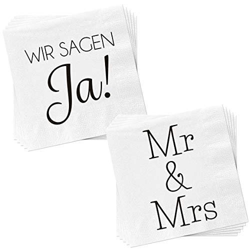 Bada Bing Juego de 2 servilletas con 40 unidades, diseño con texto en alemán, color blanco