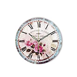 MOAAA Vintage Decorative Wall Clock More Silent Retro Home Decoration Watch Wall Bedroom Vintage Wall Decor Clock,Style 3,12Inch 30Cm