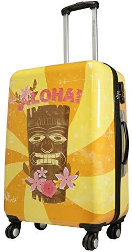 Trendyshop365 bunter Design-Koffer Citykoffer Bedruckt mit Motiv - Hawaii Aloha - 64 Zentimeter 4 Rollen Zahlenschloss