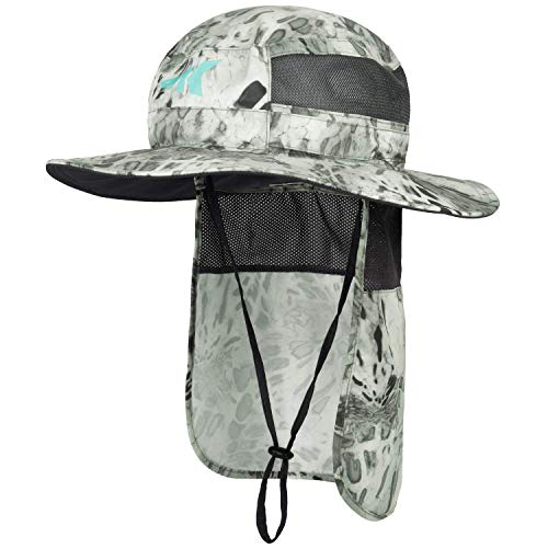 KastKing Sol Armis UPF 50 Boonie Sun Hat with Removable Neck Shield– Sun Protection Hat, Fishing Hat, Beach & Hiking Hat, Paddling, Rowing, & Kayaking - Silver Mist