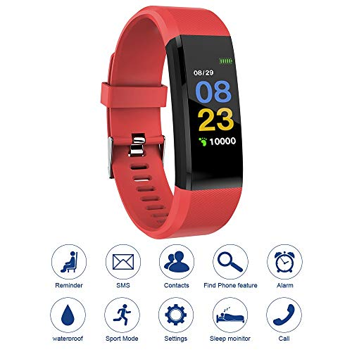 115plus Fitness Tracker Smart Armband Bluetooth Kleur Display Sport Horloge Hartslag/Bloeddruk Monitor Stappenteller Stap Calorie Counter Rood AC1424 Elektronische Accessoires Elektronische Accessoires