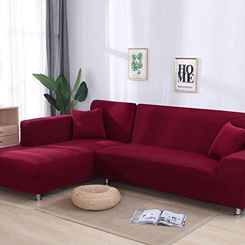 WXQY Funda de sofá elástica elástica Lisa Gris, se Puede Utilizar para sofá con Fondo en Forma de L, sofá Modular y Funda de Chaise Longue A12 de 4 plazas