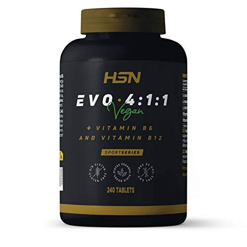 BCAA Evo 4:1:1 de HSN | Aminoácidos Ramificados con Ratio 4:1:1 (Leucina, Valina, Isoleucina) + Vitamina B6 y B12 | Vegano, Sin Gluten, Sin Lactosa, 240 tabletas