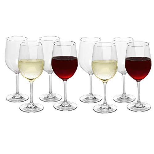 Unbreakable Stemmed Wine Glasses, 12oz- 100% Tritan- Shatterproof, Reusable, Dishwasher Safe Drink Glassware (Set of 8)- Indoor Outdoor Drinkware - Great Mother's Day, Cinco De Mayo, & Wedding Gift