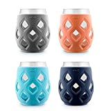 Ello Cru 17 Oz Stemless Wine Glass Set with Silicone Sleeves, Paloma (4-Pack)
