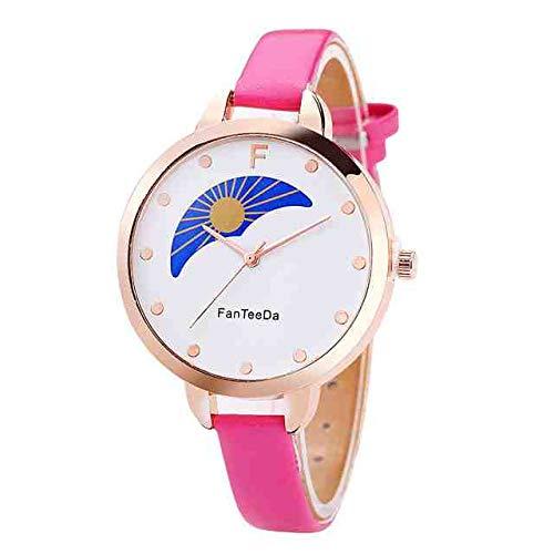 WDQTDY FanTeeDa relogio Feminino Sonne und Mond Legierung Analog Lederband Quarz-Armbanduhr Frauen Clock Casual Runde Kadin saat mujerB40 Pink