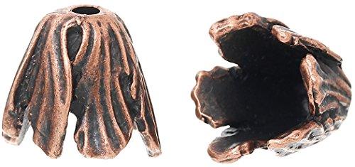 SiAura Material Lot de 10 Capuchons de Perles en métal Motif Feuilles Cuivré 16 x 17 mm