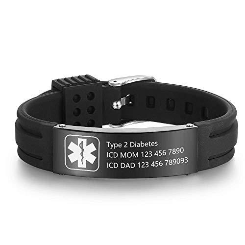 """Grand Made Pulseras personalizadas de id médica de alerta de 9"""" Pulsera de silicona ajustable para deportes de emergencia para hombres Mujeres Pulsera impermeable para mujer (Black)"""